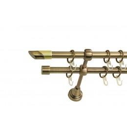 Landhouse Ø16mm Dvoredna Garnišna za zavese Dijagonala - Antik mesing