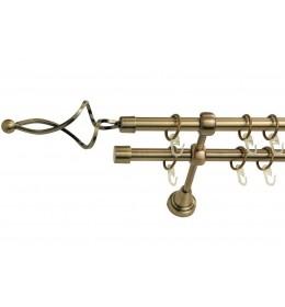 Landhouse Ø16mm Dvoredna Garnišna za zavese Olimpija - Antik mesing